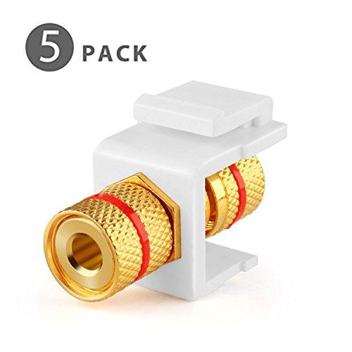 - TNP Banana Jack Keystone Insert (5 Pack) - Speaker Banana Connector Socket Female Port Screw Type Binding Post Snap In Adapter Inline Coupler For Wall Plate Outlet Panel (White)