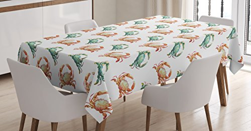 Ambesonne Crabs Tablecloth, Pattern with Watercolor Style Fresh Water Animals Coastal Themed Art, Dining Room Kitchen Rectangular Table Cover, 60 W X 84 L inches, Pale Orange Turquoise White by Ambesonne