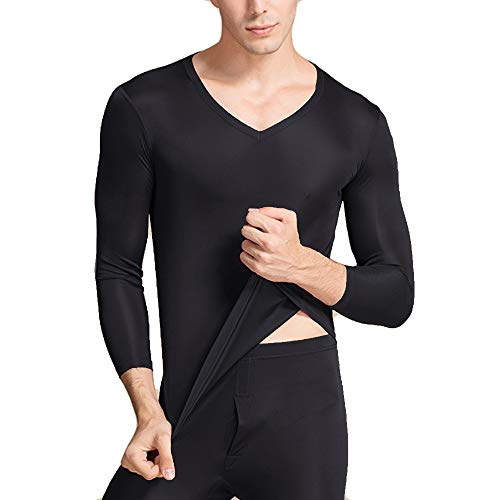 LingDooo Mens Pure Silk Winter Knit Underwear Winter Thermal Long Johns Set V Neck Silk Shirt +Pants (S(Tag L), V-Black)