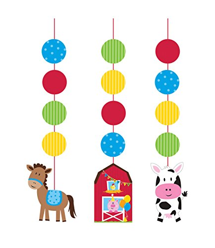 Creative Converting Farmhouse Fun Printed Hanging Cutouts (3 (Farm Animals Hanging)