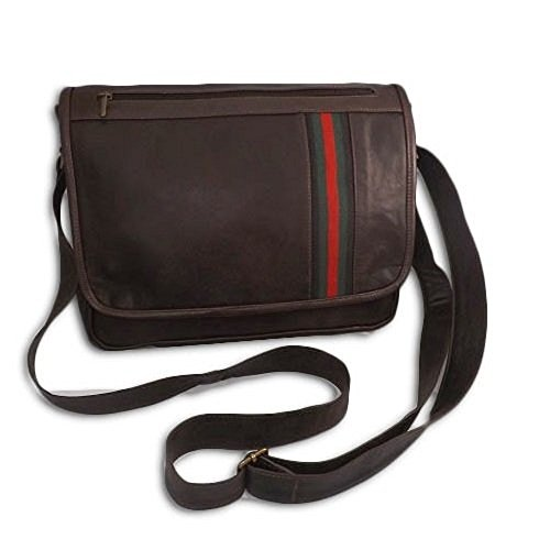 Borsa messenger in pelle -Vero Artigianato italiano - 36cm L, 26cm H,6 cm MOD :Gol 014 - Brown vintage