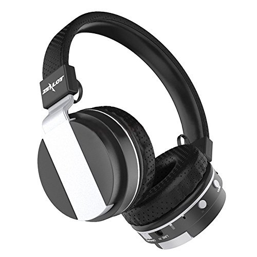 Calfskin Leather Metallic (Zealot B17 Foldable Over Ear Bluetooth 4.0 Wireless Stereo Headphones Hands Free Music Player Support TF Card With FM Radio, Built-in Microphone and 3.5mm Audio for iPhone/iPad/Smartphones/Laptop/PC (Black))