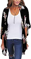 ECOWISH Womens Floral Print Loose Kimono Cardigan Beach Cover Up Blouse Tops D2007 Blue XL