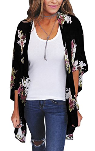 ECOWISH Womens Floral Print Loose Puff Sleeve Kimono Cardigan Lace Patchwork Cover up Blouse D2003Black L