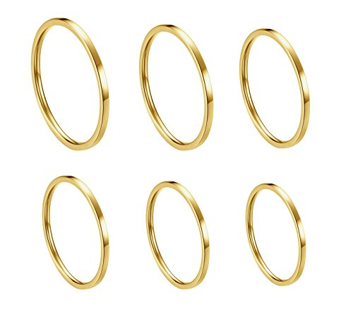 ALEXTINA Women's 6 Pieces Stainless Steel 1MM Gold Thin Midi Stacking Rings Plain Band Comfort Fit Size 4 to 9 ()