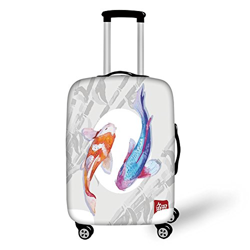 Travel Luggage Cover Suitcase Protector,Ocean Animal Decor,Watercolor Koi Fish Couple Design with Grunge Brushstrokes Based Paint,Blue Orange,for Travel by iPrint
