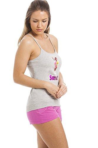 Camille - Conjunto de pijama - Algodón - Gris y rosa con helado serigrafiado Pink & Grey & Multi-colou