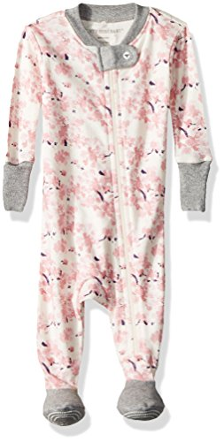Price comparison product image Burt's Bees Baby Baby Girls' Pajamas,  Zip Front Non-Slip Footed Sleeper Pjs,  100% Organic Cotton,  Eggshell Waterlily,  0-3 Months