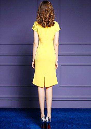 Corps Cotylédons Women`s Robes Con Couleur Unie Divisé Robe Formelle Jaune