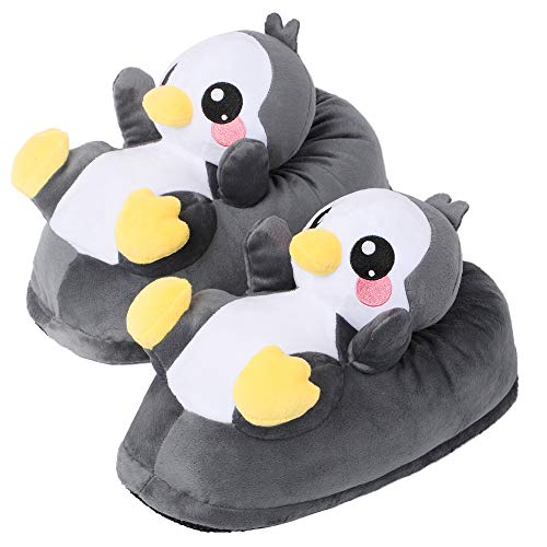 corimori 1847 - Pablo The Penguin Cute Plush 3D Animal Shaped Slippers, Funny Lounge Shoes, Womens Sizes 5-13