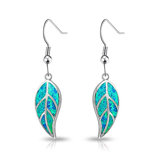 (CiNily Opal Leaf Dangle Earrings-Blue Fire Opal Rhodium Plated Drop Earrings for Women Jewelry Gemstone Dangle Earrings 1 5/8