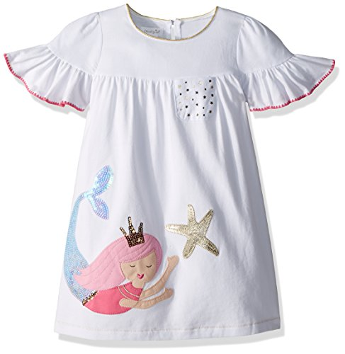 Mud Pie Baby Girls Mermaid Ruffle Sleeve Casual Play Dress, White, 3T (Mud Pie Dresses Girls 3t)