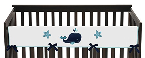 Sweet Jojo Designs Blue Whale Collection Long Front Rail Guard Baby Teething Cover Crib Protector Wrap by Sweet Jojo Designs