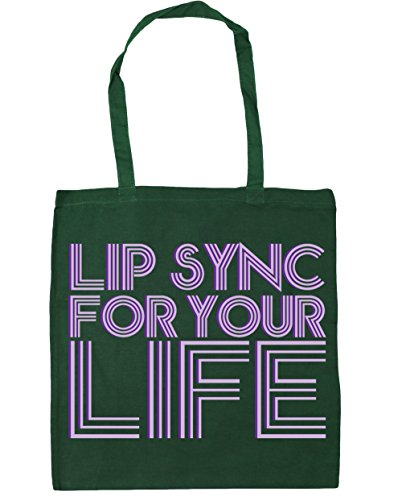 Bottle Bag for 10 your Beach x38cm Gym sync litres Shopping Green 42cm HippoWarehouse Lip life Tote Fq6Ez