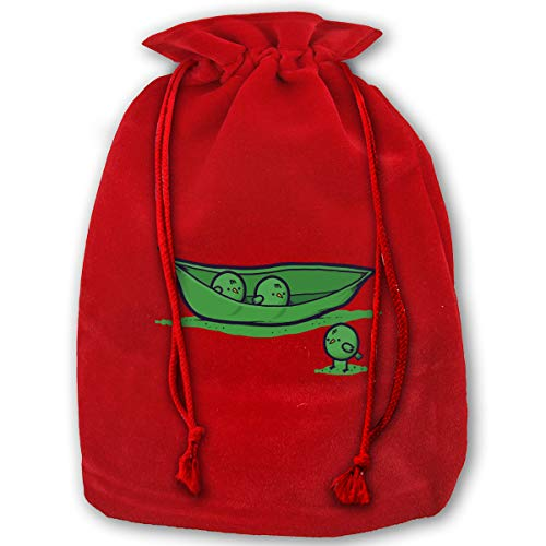 Sweet Pea Red Designs (Chick Peas Red Christmas Drawstring Gift Bag Personalized Santa Sack Great Large Small Holiday Favors)