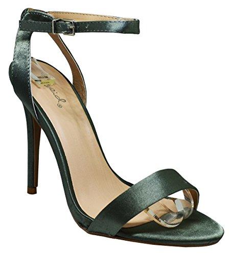 Qupid Ara-344 Womens Open Toe Heels Khaki Satin Size 8