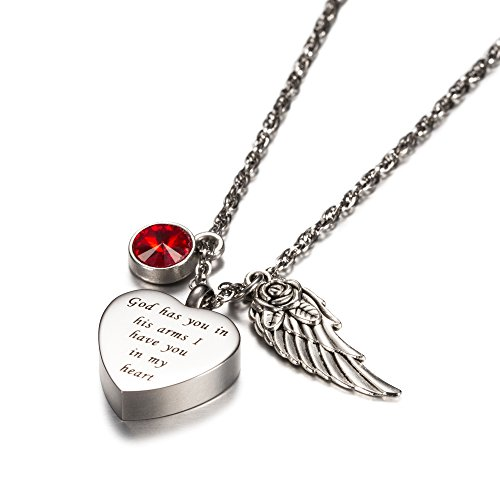 God has you in his arms with Angel Wing Charm Cremation Jewelry Keepsake Memorial Urn Necklace with Birthstone crystal by AMIST (January)