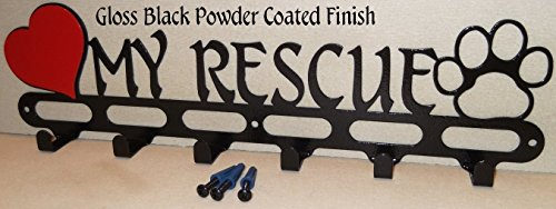 Dog Leash Holder. Love My Rescue. Hook. Hanger. Jet Black Texture. Handmade in USA. 16.75 inch wide.