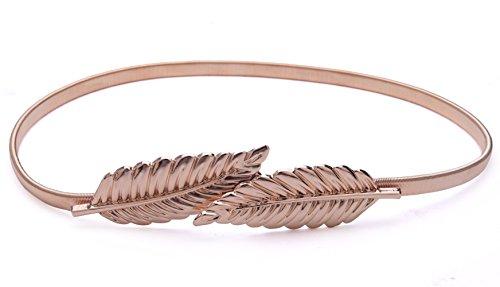 Shengweiao Women's Gold Silver Elastic Stretch Waist Belt (Golden3)