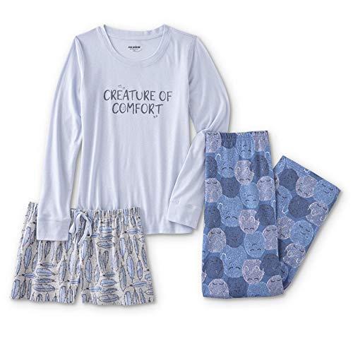 Joe Boxer Women's Plus Size 3-Piece Pajamas Lounge Set with Shirt, Shorts, and Pants (Creature of Comfort, 1X) (Womens Joe Boxer)
