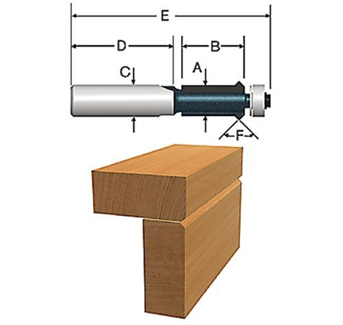Bosch 85647M 1/2 In. x 1 In. Carbide Tipped Flush Trim V-Groove Bit