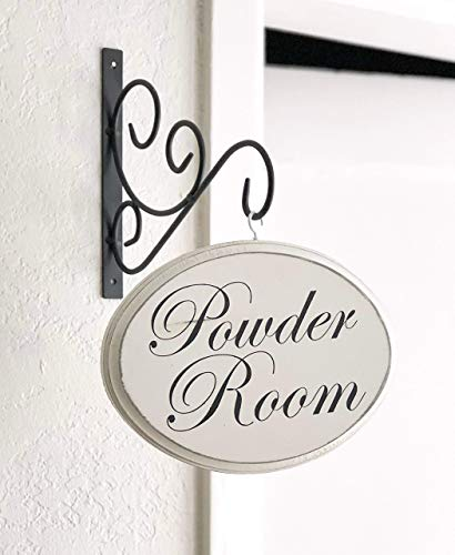 Off-White Oval Powder Room Sign with bracket