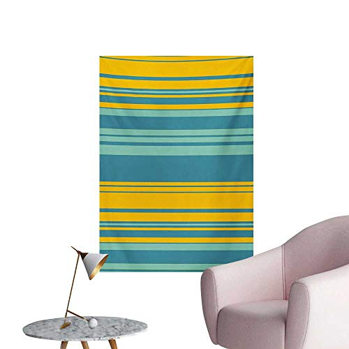 (Anzhutwelve Yellow and Blue Photo Wall Paper Horizontal Abstract Color Stripes Lines Simplistic Modern Art PrintTeal Turquoise W32 xL36 Wall Poster)