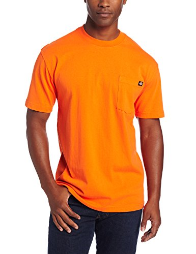 Dickie's Men's Short Sleeve Heavyweight Crew Neck Pocket T-Shirt, Orange, X-Large