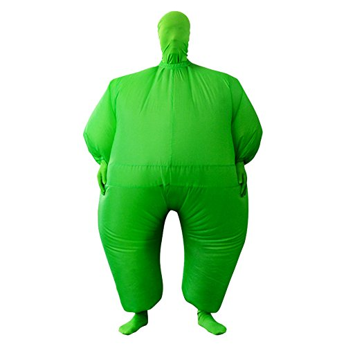 Inflatable Full Body Jumpsuit Cosplay Costume Halloween Funny Fancy Dress Blow Up Party Toy (Green)