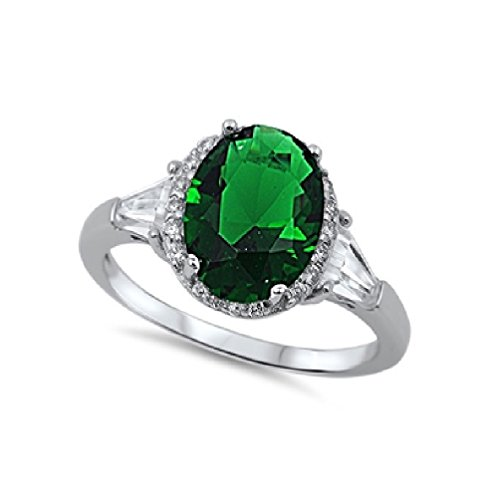 Oval Center Simulated Emerald Cubic Zirconia Ring Sterling Silver Size (Oval Center)