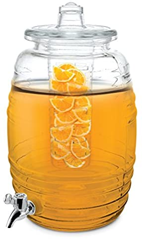 LANSH 2.3 Gallon Glass Beverage Dispenser with 2 Infusers One for Flavor and One for Ice - 3 Gallon Iced Tea