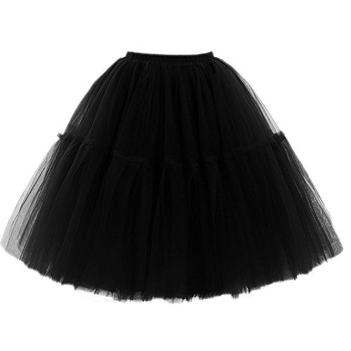FOLOBE Adult Ballet Tutu Layered Organza Lace Mini Skirt Women's Princess Petticoat for Prom Party,Medium / Large,Black