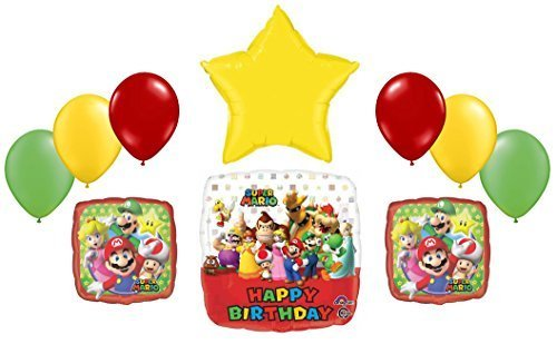 Super Mario Bros Birthday Foil and Latex Balloons Bouquet (10 Pcs) (Mario Star Pinata)