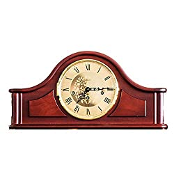 Hermle Qwirly Store Acton Mechanical Mantel Clock 21142070340 Antique Style Mahogany Wood Chiming Mantel or Desk Clock