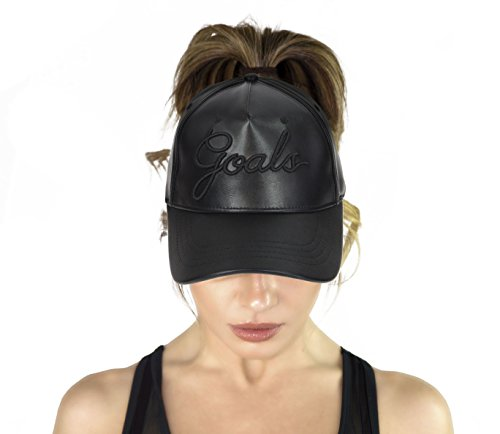 AB Butter Goals Ponytail Hole Strapback Baseball Cap Dad Hat - Black Leather