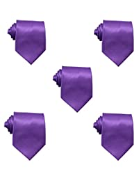Mens Solid Satin 3.9 Inch Wide Formal Necktie Pack 5 For Wedding By JAIFEI (Purple)