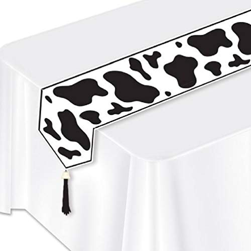 hersrfv home Farm Party Cow Print Laminated Paper Table Runner Ranch Western Party Decor