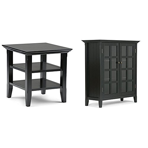 Simpli Home Acadian End Table, Black + Simpli Home Acadian
