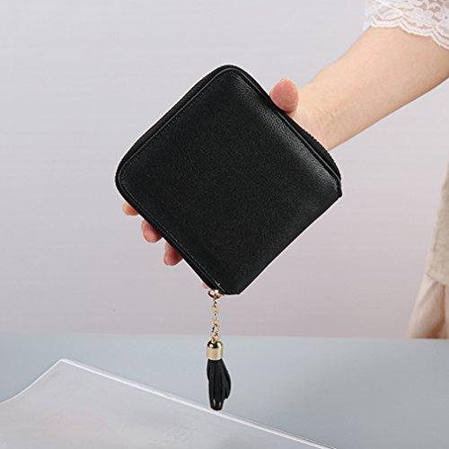 VWH Frauen einfache Quaste Geldbörse Kartenhalter Schwarz
