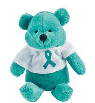 1 Plush Teal Awareness Ribbon Bear
