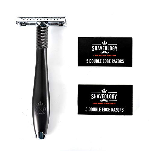 SHAVEOLOGY Butterfly Safety Razor Kit for Men + 5 Platinum Double Edge Razor Blades + Leather Blade Guard + Polishing Towel - Great Great Gifts for Men