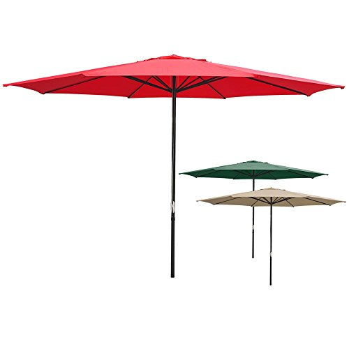 Aluminum Deck Furniture (Yescom 13' Red Sun Shading Aluminum Umbrella UV30+ Outdoor Patio Market Garden Beach Deck Furniture)