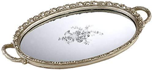 Kensington Hill Bellington Silver Floral Large Decorative Mirrored Tray