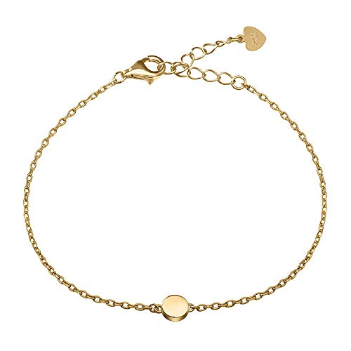 - Meow Star Sterling Silver Dot Circle Bracelet Round Disc Chain Bracelet Tiny Bead Minimalist Bracelet (Gold Plated)