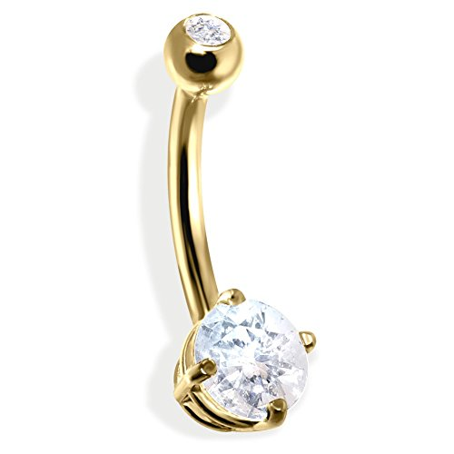 - MsPiercing 14K Gold Double Jeweled Belly Ring, CZ, 14K Yellow Gold