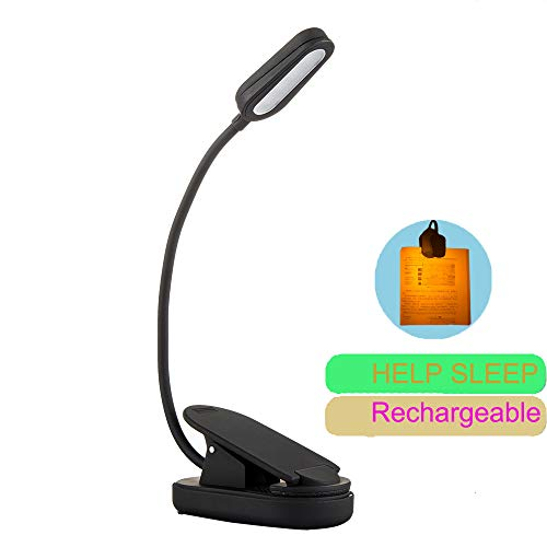 Preti USB LED Reading Book Light Sleep Aid, 2 Modes Clip Table Lamp, 360 Degree Adjustable Gooseneck Pole, 20 Hours Working Time Desk Lights for Bedside Study Reading (Yellow)