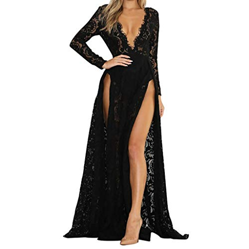 - Mlide Women's Side Split Maxi Dress,Deep V Neck Lace Hollow Dress,Sexy Elegant Floor Length Party Dress Prom Dress (Black,Small)