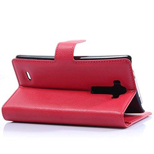 LG G Flex 2 Case - Leevin(TM) Flip Wallet Pu Leather Case Hard Cover with Stand Card Holder for LG G Flex 2015 2nd / LG Vu4 (Red)