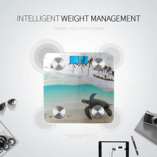 Bluetooth Body Fat Scale Endangered Hawaiian Green Sea Turtle Cruising Smart Wireless Scale with LCD Display Measuring Body Weight Bmi and Health Digital Scale