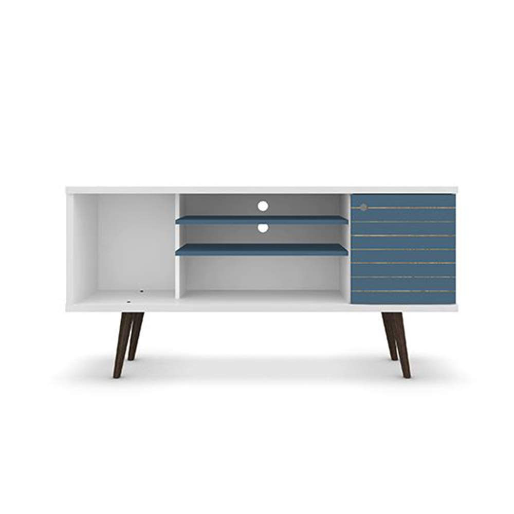 Manhattan Comfort Liberty Collection Mid Century Modern TV Stand With One Cabinet and Two Open Shelves With Splayed Legs, White/Blue by Manhattan Comfort